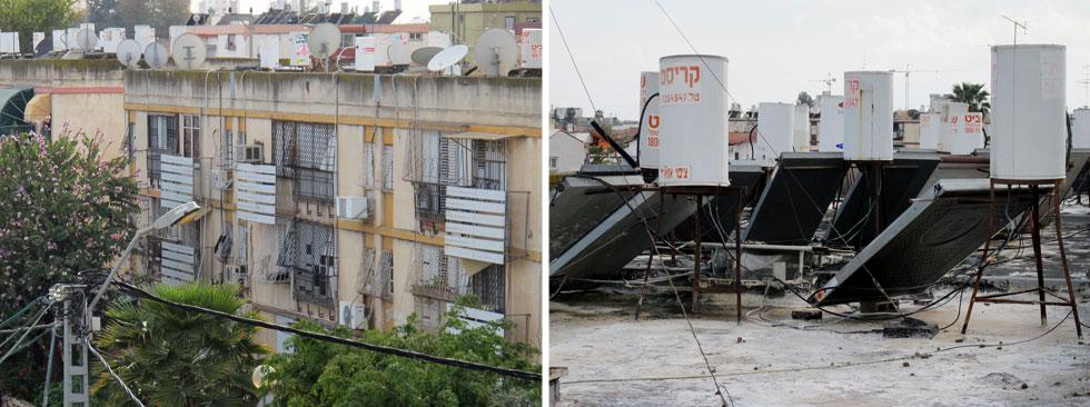 האובייקטים מקרוב ומרחוק על גג בניין משותף ברמלה. פזורים על הבניין לפי נוחותו של המתקין (צילום: מיכאל יעקובסון)