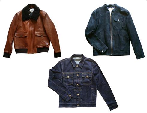 ז'קט זמש כחול לגברים, 2,499 שקל; ז'קט ג'ינס יוניסקס, 699 שקל; מעיל טייסים מעור, 2,999 שקל (צילום: תם מרשק)