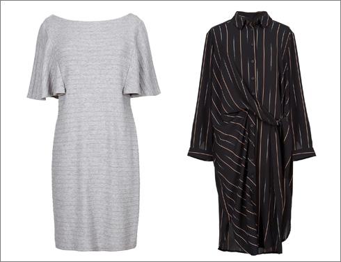שמלה בדוגמת פסי סיכה עם קשירה, 790 שקל; שמלת סריג אפורה, 690 שקל (צילום: עדי גלעד)