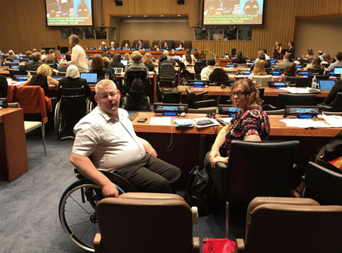 Yoav Kraiem at the UN (Photo: Courtesy of Beit Issie Shapiro)