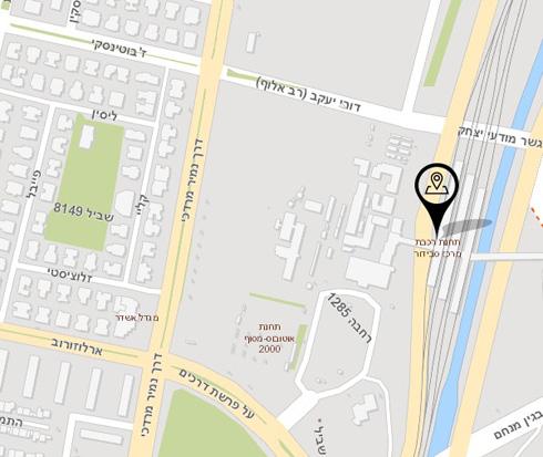 זהו המתחם: בין התחנה לבין החניון, שעובר כעת שיפוצים. הבניינים ישנים, ולא ברור אם מדובר במיקום זמני או קבוע (מפה: מתוך gisn.tel-aviv.gov.il)