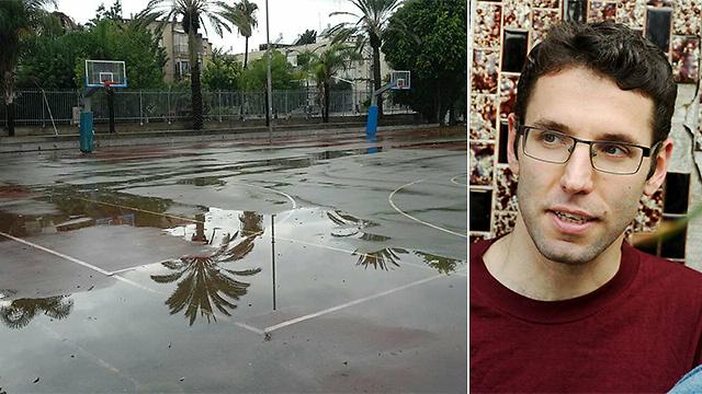 יונתן פיין. משמאל: מגרש הספורט בעירוני ד' (צילום: (מימין) מוטי קיקיון, (משמאל) קבוצת כדורגל בד')