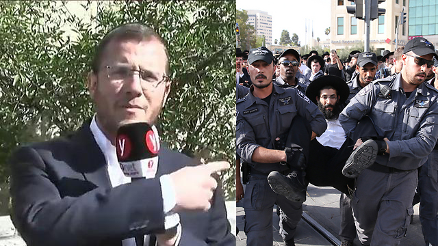Rabbi David Zucker, next to a Haredi protester dragged away by police from a road blockade