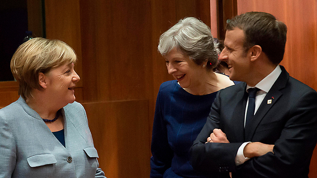 L to R: Angela Merkel, Theresa May and Emmanuel Macron, at the UN (Photo: AFP)
