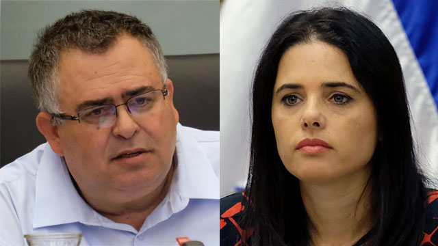 MK David Bitan and Justice Minister Ayelet Shaked (Photos: Yoav Dudkevitch)