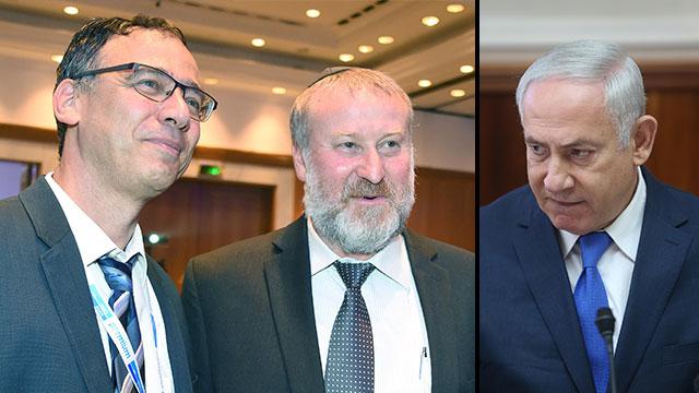 State Prosecutor Shay Nitzan (L), AG Avicha Mandelblit (C) and PM Netanyahu (Photo: Alex Kolomoisky and Yair Sagi)
