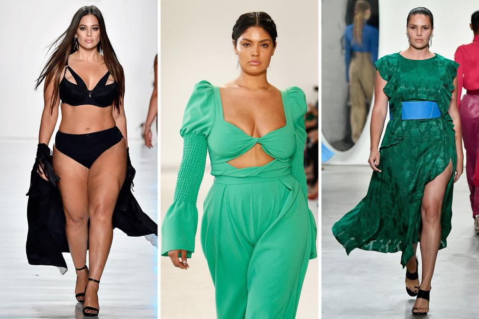 """שבוע האופנה האחרון כלל את המספר הגדול ביותר של נשים במידות שונות EVER וכונה בפרסומים שונים """"שבוע אופנת הפלאס סייז"""". קנדיס האפין, תצוגה  של כריסטיאן סיריאנו ואשלי גרהאם (צילום: Gettyimages)"""