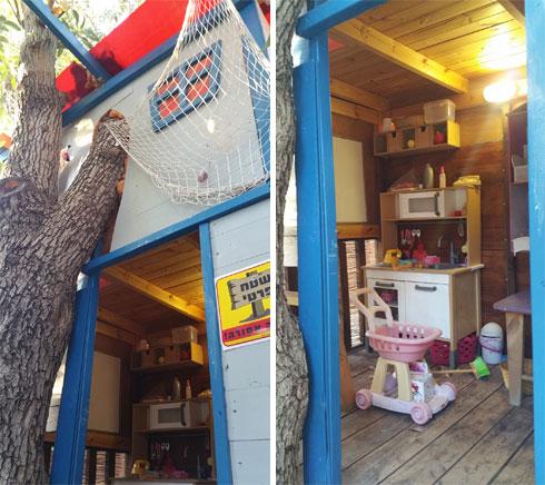 בית העץ של משפחת גדות. גם הריהוט והפריטים בפנים נאספו מהזבל ושופצו (צילום: יערה גדות)