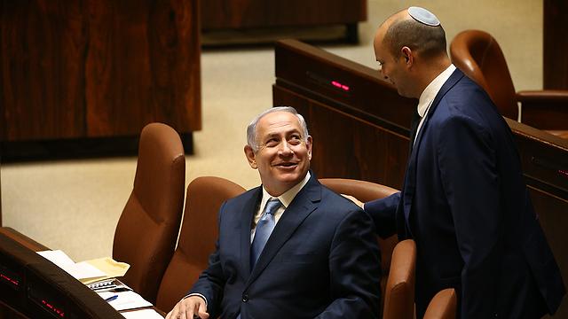Prime Minister Netanyahu and Education Minister Bennett (Photo: Ohad Zwigenberg)