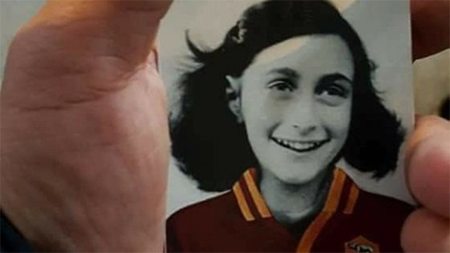 A photo of Anne Frank superimposed with a soccer uniform