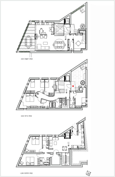 תוכניות שלוש הקומות של הבית (תוכנית: אדר׳ מתי רוזנשיין)