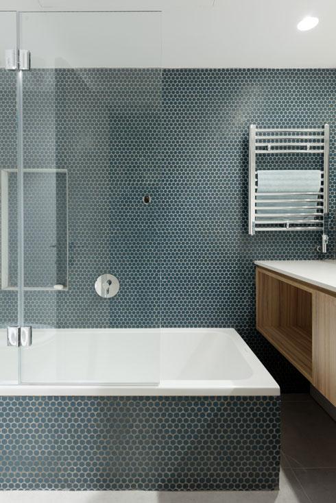 גוונים כחולים בחדר האמבטיה (צילום: גדעון לוין)