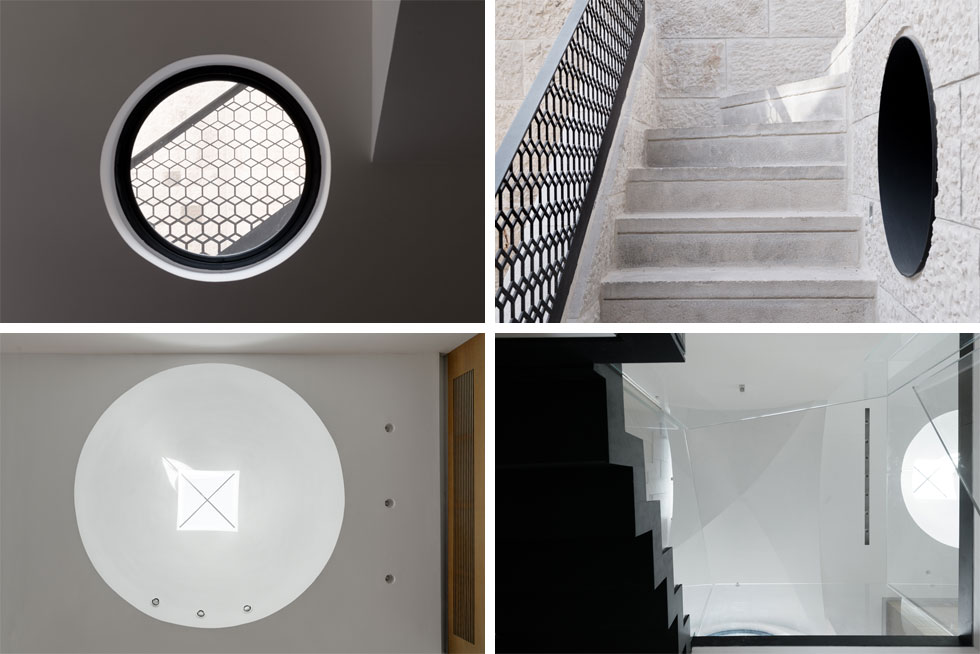 """חלון עגול שמכניס אור לחדר העבודה (בשתי התמונות למעלה) וחלון סקיי-לייט בכיפה מעל פינת האוכל (למטה). """"הרובע מאוד צפוף"""", מסביר האדריכל מתי רוזנשיין, """"והאתגר הוא איך להכניס אור למרכז הבית. בעיני, האור הוא זה שמחולל את האיכויות הטובות של הבית""""  (צילום: גדעון לוין)"""
