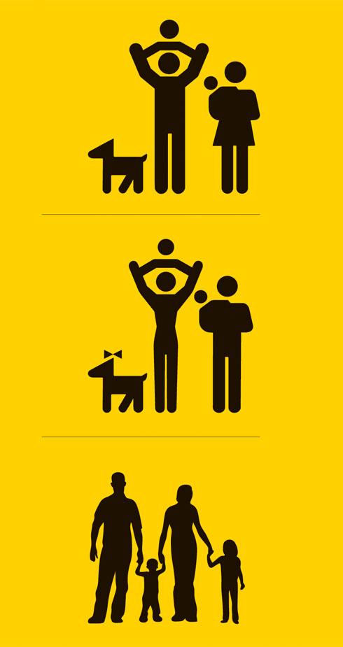 """האם יש צורך במאפיינים """"גבריים"""" לדמות, או שדמות הגבר היא ברירת המחדל, אליה מצטרפת הדמות הנשית כתוספת? כיצד יש להגדיר מין של תינוק/ת? האם באמצעות קשירת סרט הופך כלב לכלבה? (עיצוב: מיכל סהר)"""