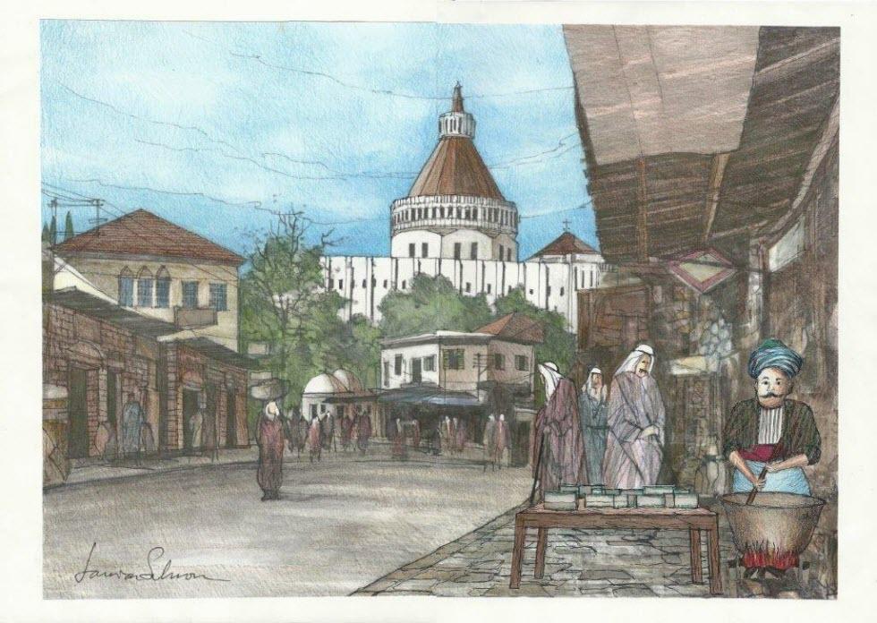 ציור המתאר את מפעל החלווה הקטן לפני כ-80 שנה, אותו צייר המייסד (באדיבות: חלווה נצרת)