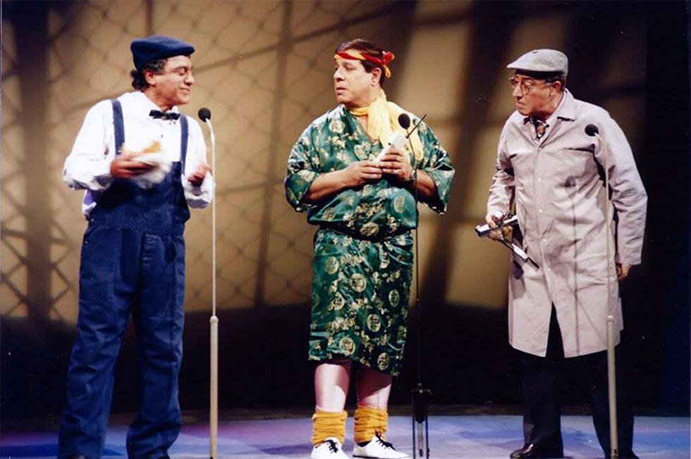 פולי (מימין) עם שייקה לוי וגברי בנאי - הגשש החיוור. שלטו בתעשיית הבידור המקומי במשך כמעט ארבעה עשורים (צילום: Assis1 נחום עסיס, cc)