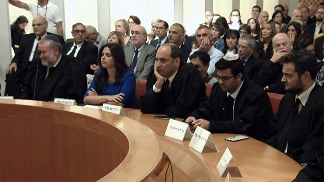 Assembled dignitaries at Naor's final session included AG Mandelblit, Justice Minister Shaked and Finance Minister Kahlon (Photo: GPO)