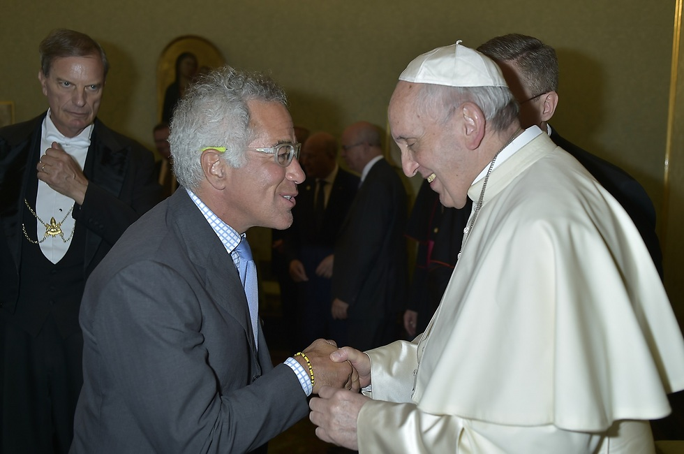 Canadian businessman Adams (L) met with Pope Francis to invite him to launch the Israeli leg of the Giro d'Italia bicycle race