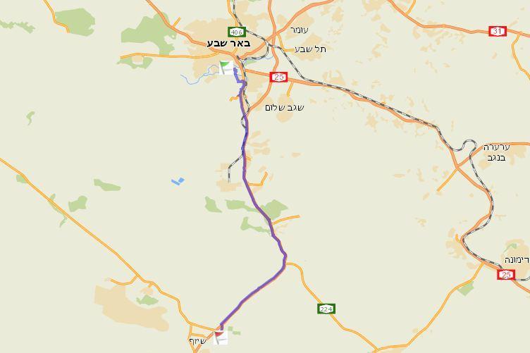 """סאנסה שרדה מסע של כ-30 ק""""מ מאזור משאבי שדה עד באר שבע (צילום: ymaps)"""