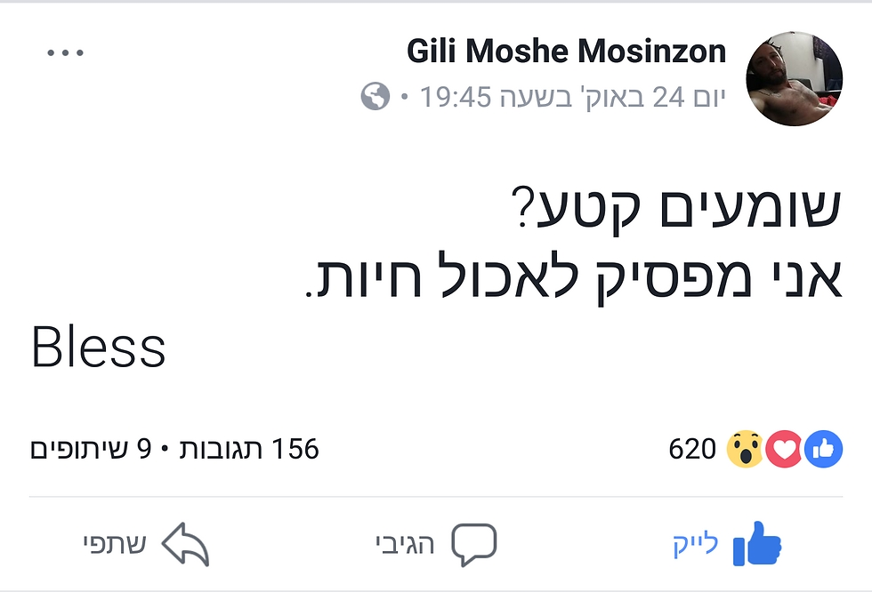 (צילום מסך: מהפייסבוק של גילי מוסינזון) (צילום מסך: מהפייסבוק של גילי מוסינזון)
