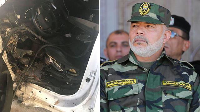 Abu Naim and his car, after the detonation