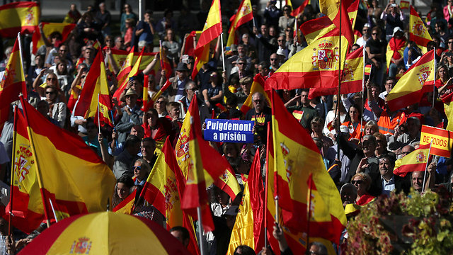Spanish protesters called for Puigdemont to be imprisoned (Photo: AFP)