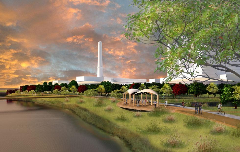 """בהדמיה רואים את תחנת הכוח רדינג מצפון לפארק, שמתחיל בשדרות רוקח, סמוך לחניון האוטובוסים של רדינג (הדמיה: משרד גרינשטיין הר-גיל, אדריכלות נוף ותכנון סביבתי בע""""מ)"""