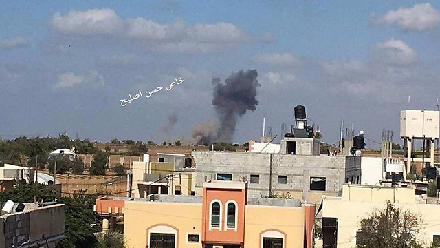 Smoke plume near the Gaza Strip