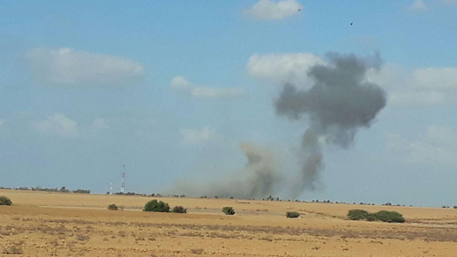 Smoke rising from the site of the IDF's targeted attack (Photo: Barel Efraim)