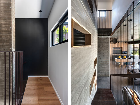 מימין: מראה קומת הכניסה ממעלה המדרגות. משמאל: הגשר בקומה העליונה (צילום: עודד סמדר)