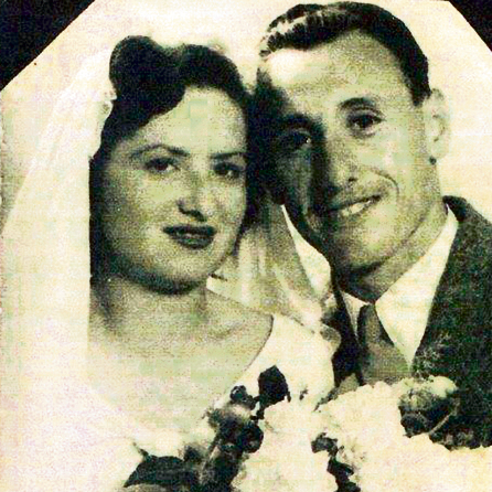 Shulamit and Shraga Katzberg. A borrowed wedding dress