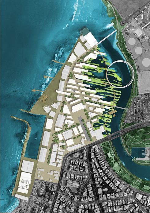 לחצו על ההדמיה: כך תיראה הגדה הנגדית של הירקון (אבל בלי הביצות, בסופו של דבר) (הדמיה: רוזנפלד ארנס אדריכלים בע''מ בשיתוף אדריכל מיכאל וולמה ואן דר מולן)
