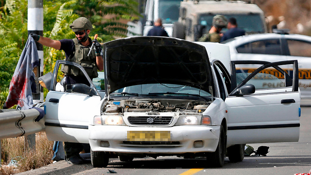 The car was shot at by Givati soldiers after its driver disobeyed orders to stop (Photo: AFP)