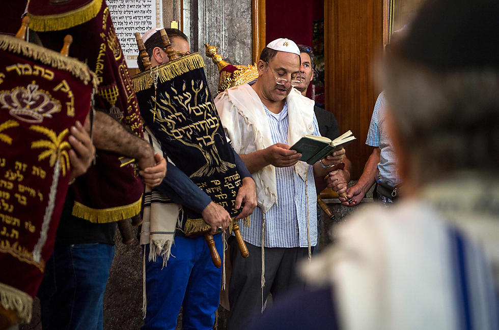 Moroccan Jews and Israeli tourists participate in a religious ceremony to observe Sukkot at a synagogue in the 'mellah'  (Photo: AFP)