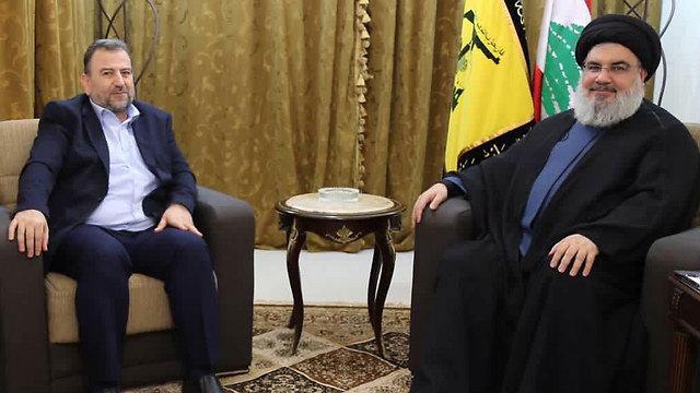 Al-Arouri meeting Hezbollah Secretary General Hassan Nasrallah