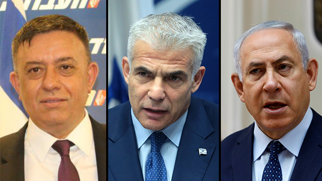 Labor leader Avi Gabbay, Yesh Atid leader Yair Lapid and Likud leader Benjamin Netanyahu (Photos: Motti Kimchi, Reuters)