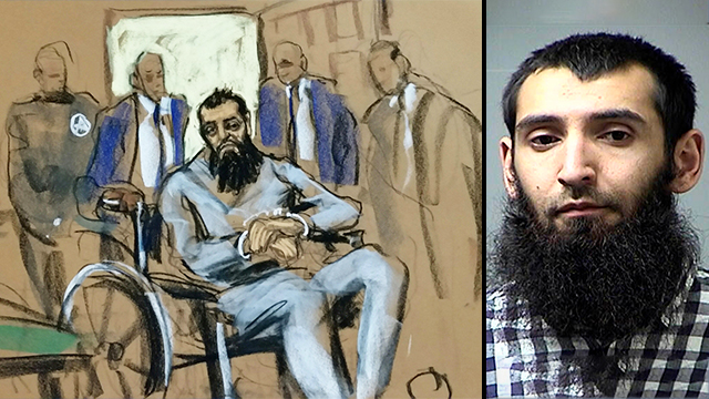 Sayfullo Saipov, right, and an illustration of him in court (Photos: MCT, Reuters)