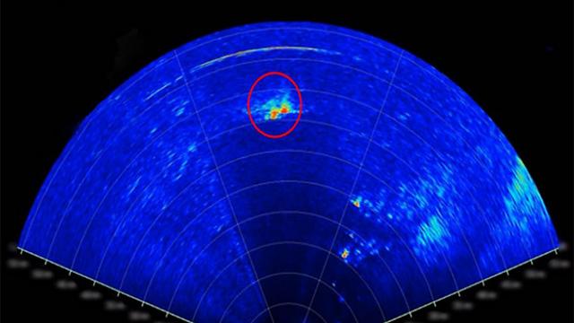 The sonar's display, seen here detecting possible hostile targets