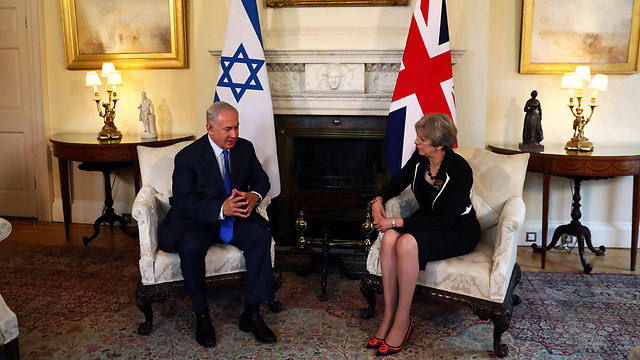 Netanyahu and May during his visit to London, last week (Photo: EPA)