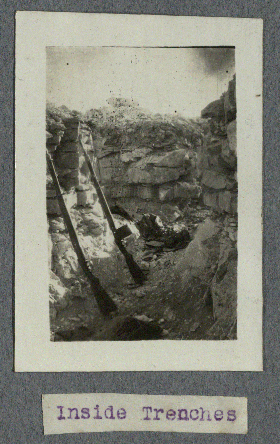 A view inside soldiers' trenches (Photo: National Library of Israel)