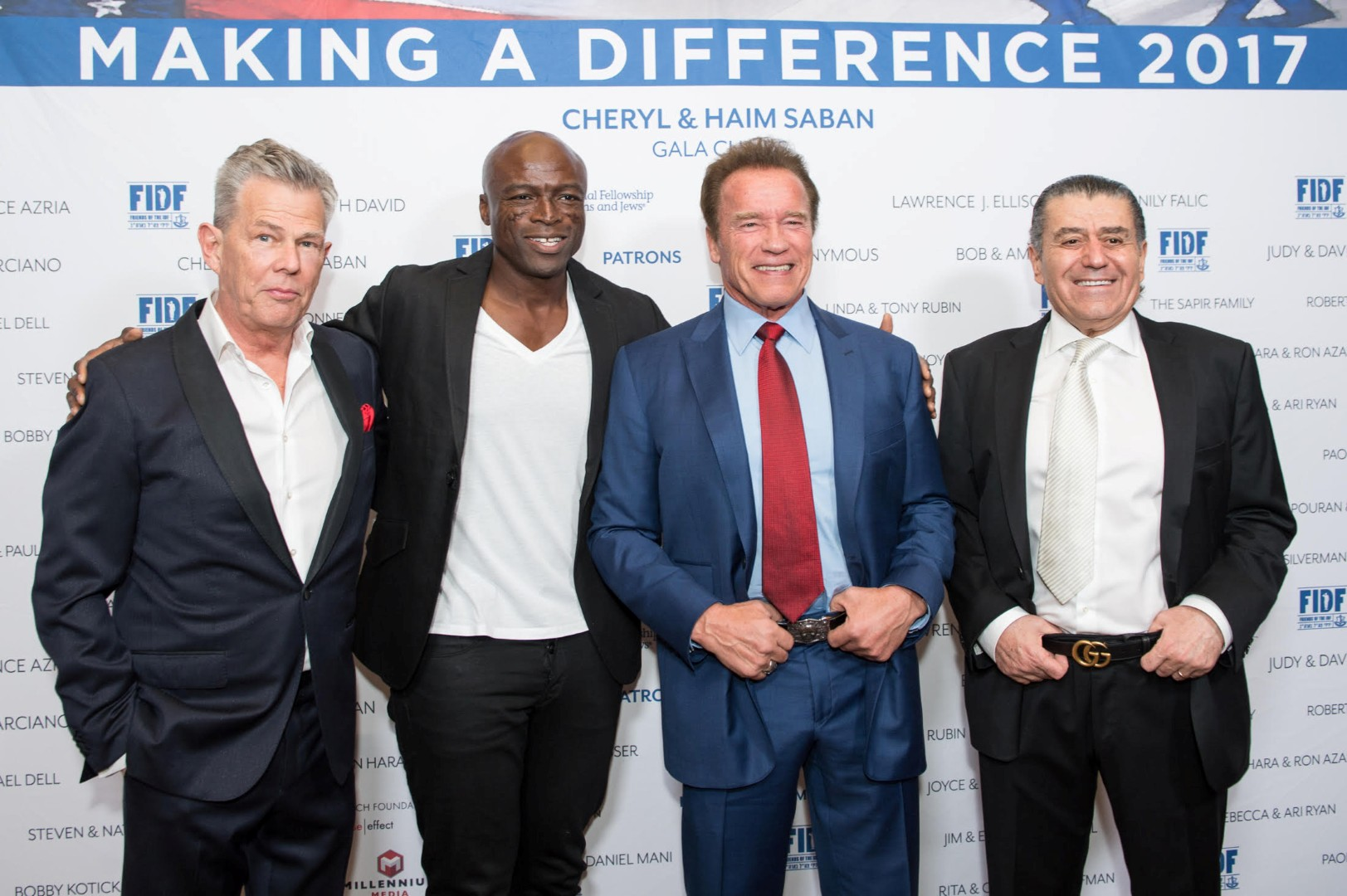 Singers David Foster and Seal, former California governor Arnold Schwarzenegger and FIDF Narional Board Member Haim Saban (Photo: Alexi Rosenfeld)