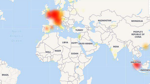 A map showing centers where the Whatsapp crash was felt