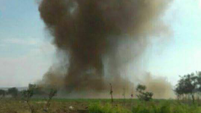 Smoke from the suicide attack in Hader