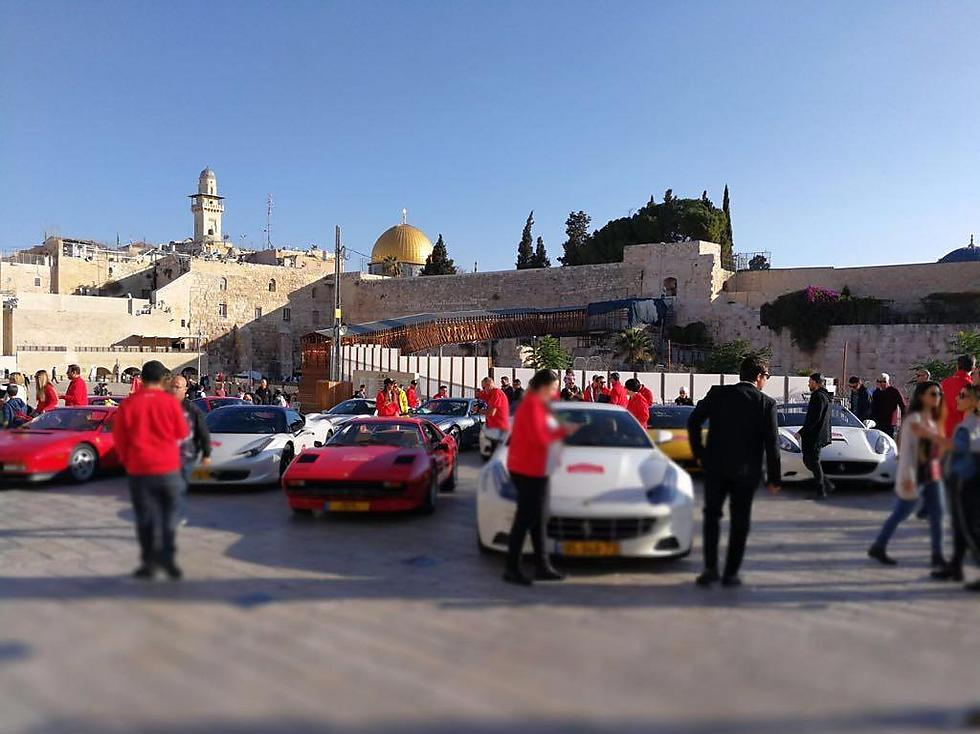 Luxury Ferrari vehicles were parked near the Western Wall Friday (Photo: Ofir Gonen)