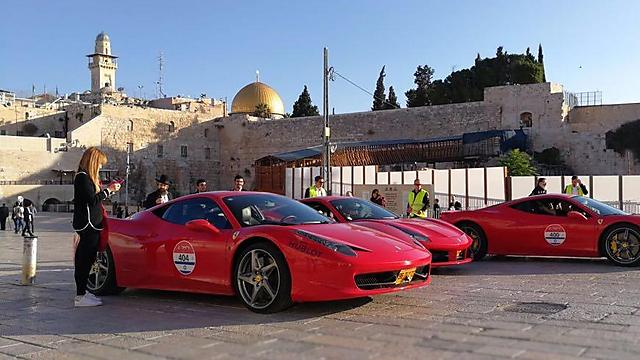 Ferrari vehicles parked in the Western Wall plaza Friday (Photo: Ofir Gonen)