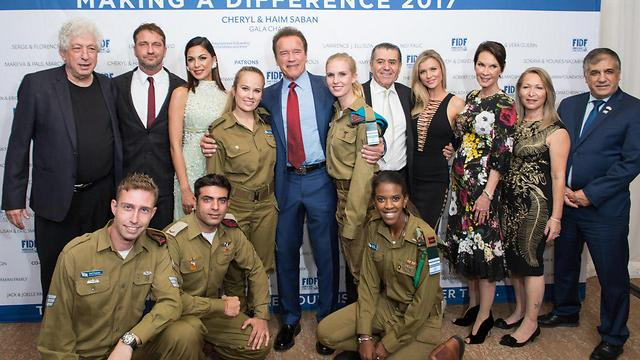 IDF soldiers with some of the celebrities who attended the gala (Photo: Alexi Rosenfeld)