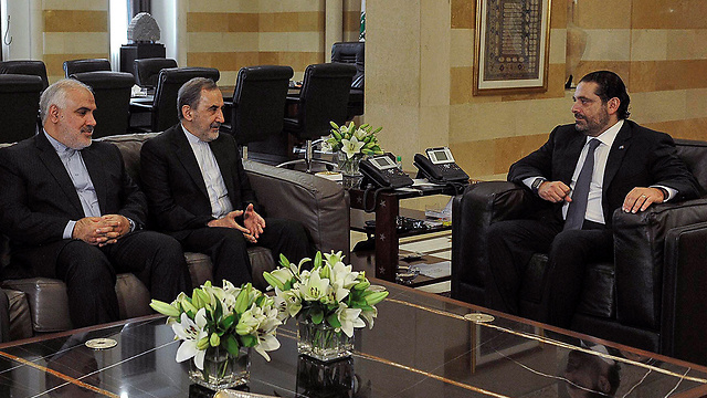 Lebanese PM Hariri and Iranian officials in Beirut (Photo: EPA) (Photo: EPA)