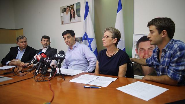The Goldin family announce intention to file petition (Photo: Motti Kimchi)