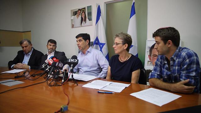 The Goldin family's press conference (Photo: Motti Kimchi)