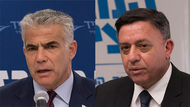 Lapid (L) and Gabbay (Photo: Yoav Dudkevitch)